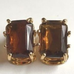Gold Vintage Style Art Deco Clip On Earrings Brown